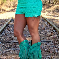 Gum Drop Lace Shorts - Mint - SMALL