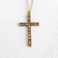 Antique 12k Yellow Gold Filled Rhinestone Cross Necklace- Vintage Art Deco Religious Crucifix Pendant with Faux Diamonds