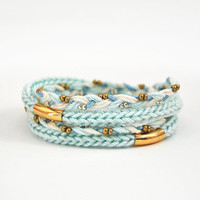 Mint wrap bracelet with tubes, knit bracelet, braid bracelet, mint bracelet