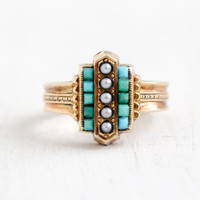 Antique Victorian 14k Rose Gold Turquoise & Seed Pearl Ring- Size 4 Late 1800s Etruscan Style Fine Jewelry