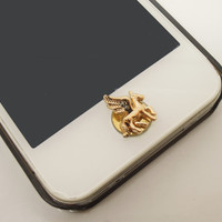 1PC Retro Bling Cyrstal Flying Horse iPhone Home Button Sticker Charm for iPhone 4,4s,4g,5,5c Cell Phone Charm Friend Gift