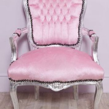 Baby Pink Fluffy Fabric Louis Style Salon Armchair