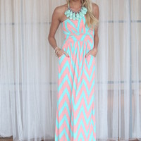 Sweet and Sour Chevron Maxi Dress