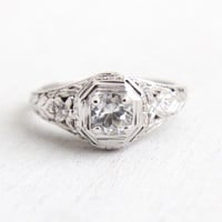 Antique 18K White Gold White Topaz Ring - Vintage Art Deco Size 6 3/4 Filigree Fine Jewelry Clear Gemstone Wedding Engagement Ring