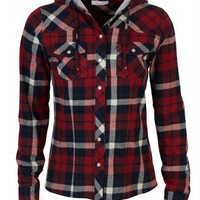 Hooded Plaid Flannel Shirt -