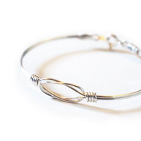 love knot bangle bracelet, silver plated
