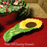 Long Ceramic Sunflower Spoon Rest Kitchen Counter Accent