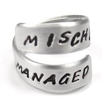 MISCHIEF MANAGED- Hand stamped- Harry Potter- Twist Ring
