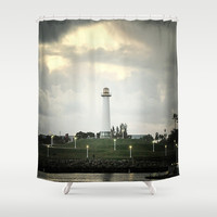 Lions Lighthouse ~ Stand By Shower Curtain by RichCaspian