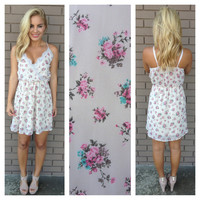 Cream Ingrid Floral Print Dress