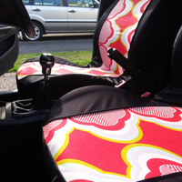 Funky Abstract VINTAGE style car front seat covers. Protective car front seat covers. Groovy car covers.