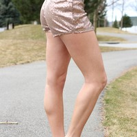 Dusty Pink Sequin Shorts