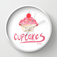 CUPCAKES Wall Clock by Lauren Lee Designs