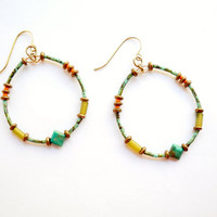 Turquoise Hoop Earrings, Glass Beads with Brass, Serpentine, and Natural Turquoise Jewelry, Beaded Hoop, Boho Jewelry, Beadwork