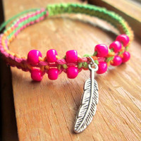 Feather Hemp Bracelet Neon Beaded Hemp Jewelry Hot Pink Vibrant Summer Jewelry For Women