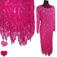 Vintage 80s PINK Purple SEQUIN Silk Cocktail Party PROM Dress M Glam Beaded Diva | eBay