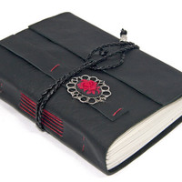 Black Leather Journal with Rose Cameo Bookmark