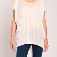 Part Chiffon Oversized Top in Cream