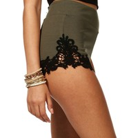 Sale-olive Lace Sides Pull-up