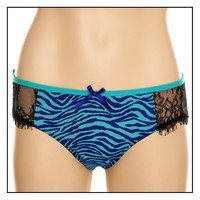 Turquoise Purple Zebra Black Lace Hot Pants