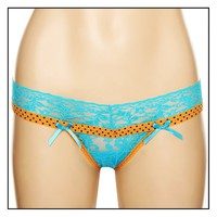 Turquoise Orange Lace Star Thong