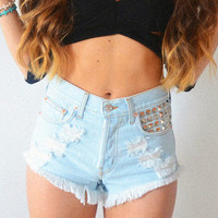 Damsel Bridgette | Vintage Inspired Frayed High Waisted Denim Shorts