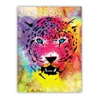 Tiger Colorful Paint Splatters and Stained Canvas Wood Print