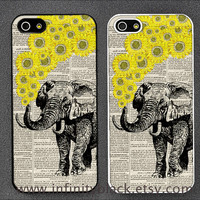 Elephant with sunflower illustration phone case, iphone 5s 5c case, Samsung galaxy note 2 case, Galaxy Note 3 case, iphone case iphone cover
