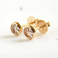 Rose Cut Stud Earrings - post earrings, simple earrings, stud earrings, dainty earrings, small earrings, rosecut topaz, rosecut earrings