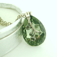 peridot green pendant necklaceperidot green huge crystal by xxyz
