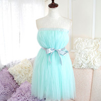 Alice in wonderland fairytale ballerina style Pastel Soft Sweet mint green tutu tulle puff skirt /dress 2 way