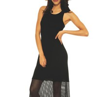 Black Sleeveless Bodycon Dress with Long Sheer Skirt