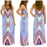 Painted Desert Blue & Red Tribal Maxi Dress