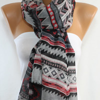 NEW SEASON Southwestern Scarf Tribal Scarf Ethnic Scarf Native Scarf Aztec Scarf Wrap Gray Scarf Women's Fashion Accessories ESCHERPE