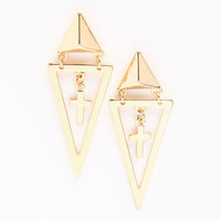 TRIBAL TRIANGLE CROSS EARRINGS