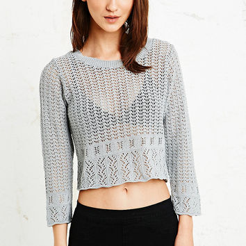 Cooperative Pointelle Border Crop Sweater in Grey - Urban Outfitters