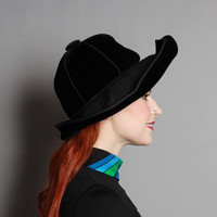 60s Oleg CASSINI Black HAT / Dramatic Wide Brim VELVET