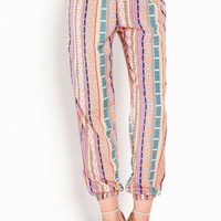 PEACH PRINT HAREM PANTS