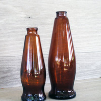 Set of 2 Vintage Amber Glass Bottles Brown by LetterKay on Etsy