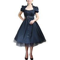 Gothic Belted Ruffle Swing Dress M