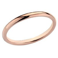 Amazon.com: Ladies 2mm Stackable Wedding Band in 14K Rose Gold, Size 9: Jewelry