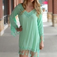 Mint Long Sleeve Mini Dress w/ Crochet Fringe Hem