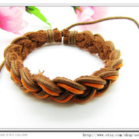 Leather and Multicolour Cotton Rope Woven Bracelets by sevenvsxiao