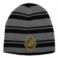 Harry Potter Hogwarts Embroidered Striped Knit Beanie | WBshop.com | Warner Bros.