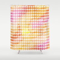 Houndstooth orange watercolor Shower Curtain by CAPow!