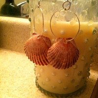 Handmade Natural Red Scallop Shell Beach Earrings