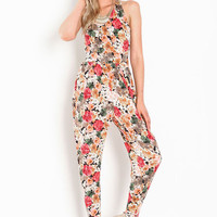 KNOTTED BACK FLORAL JUMPSUIT
