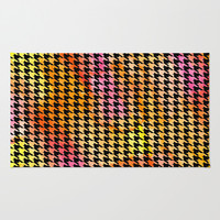 Houndstooth orange on black watercolor Area & Throw Rug by CAPow!