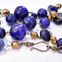 Chunky beaded necklace lapiz lazuli with gold czech glass beads