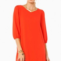 CHRISSA SHIFT DRESS IN ORANGE